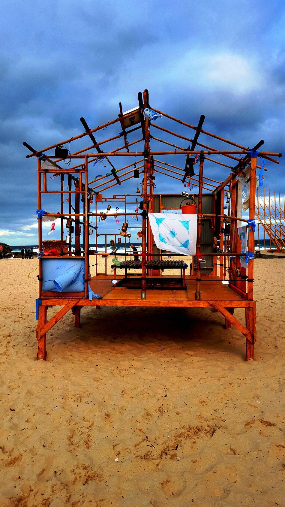 BeacH SCulpTures Art Work Beach Beach Life Bondi Beach Cloth Creativity Day Evening Hanging Nature Outdoors Sand Sculptures Sea Sky Sky And Clouds Sydney Windy Wooden Workmanship