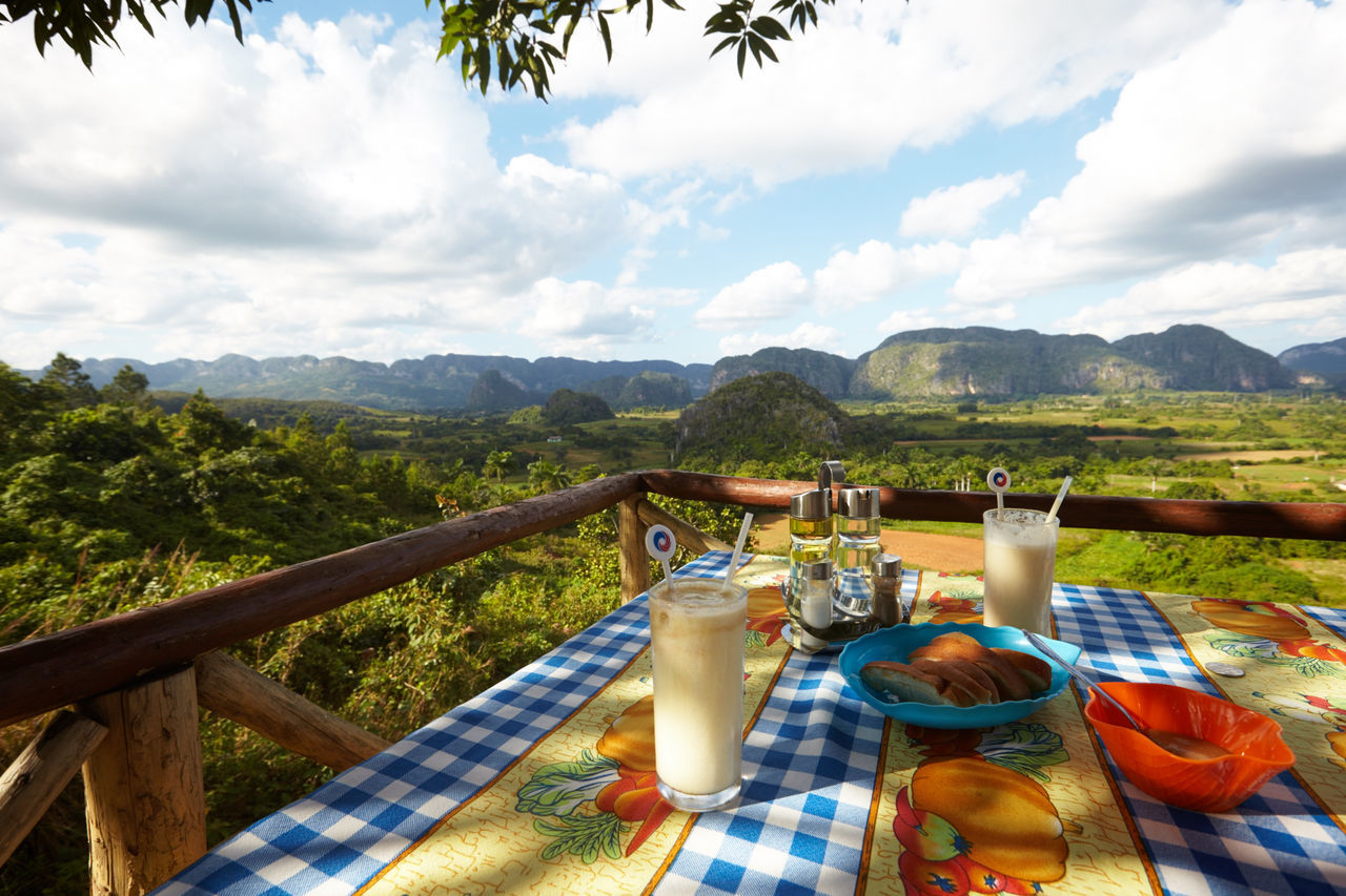 Beauty In Nature Cloud - Sky Countryside Cuban Life Day Drink Food Food And Drink Landscape Mountain Mountain Range Nature No People Outdoors Piña Colada Refreshment Scenics Sky Sunlight Table Tea Crop Tobacco Leaf Tranquility Tree Water