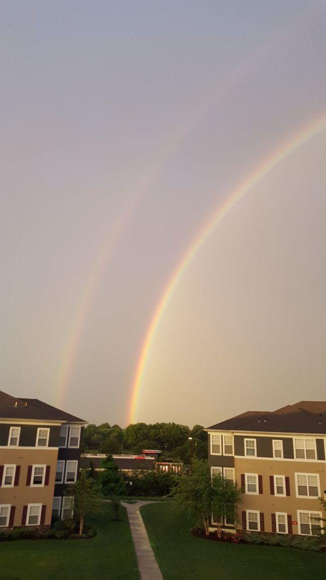 Double Rainbow Beauty In Nature Double Rainbows Multi Colored Rainbow Sky Tranquil Scene Westbury, NY