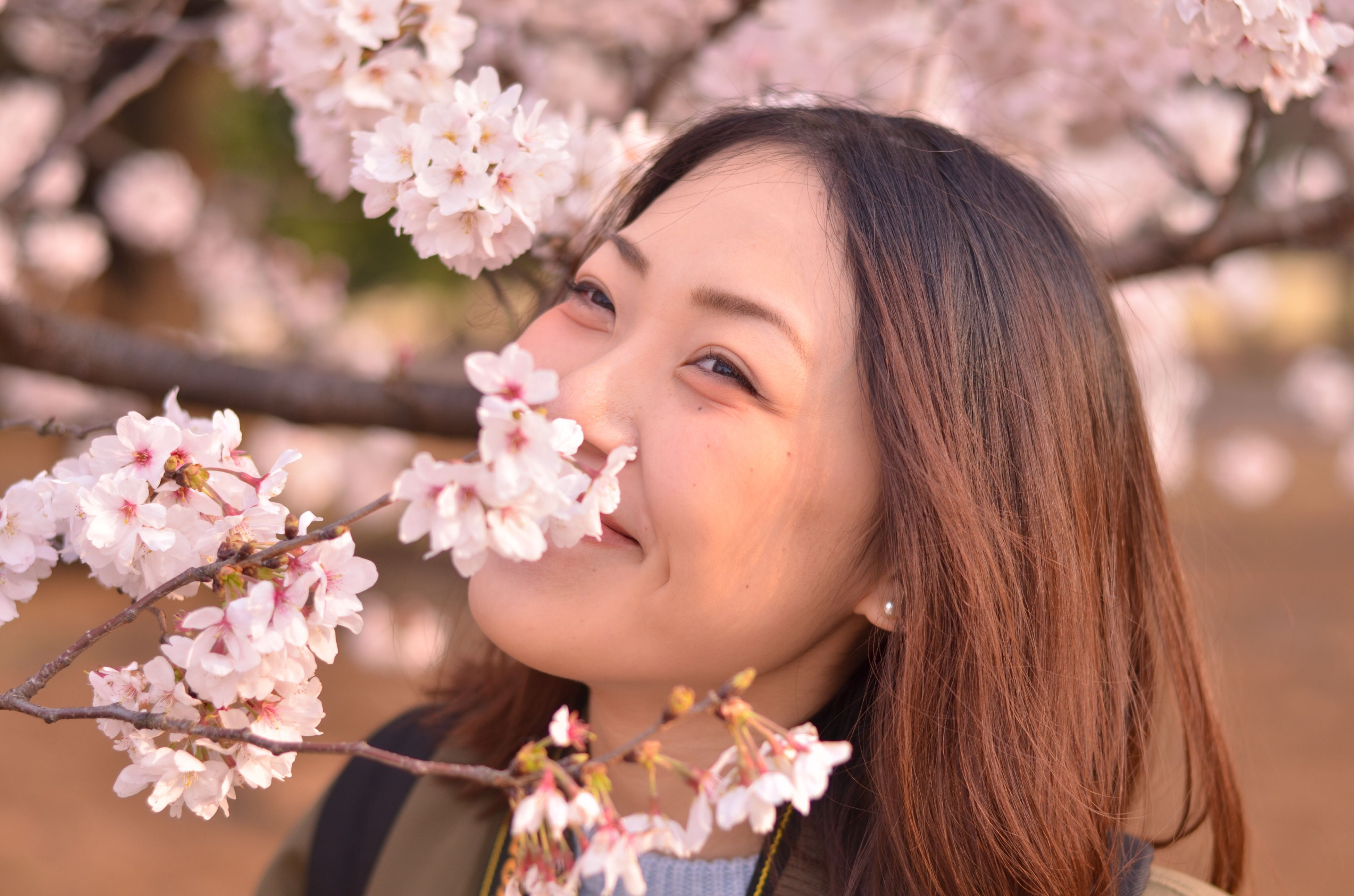 flower, focus on foreground, fragility, freshness, close-up, person, young women, lifestyles, petal, nature, beauty in nature, young adult, pink color, growth, flower head, branch, park - man made space