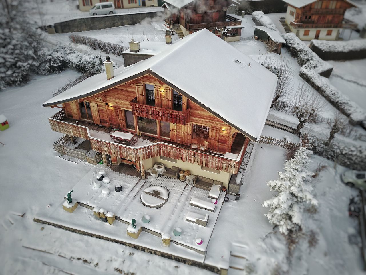 Chalet High Angle View Architecture Building Exterior Outdoors Cold Temperature Nature Snow Winter No People
