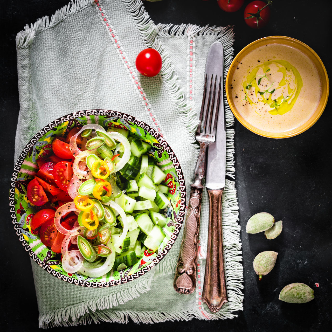 Tomato and cucumber salad with green almonds and tahini dressing. Close-up Cucumber Day Dieting Directly Above Food Food And Drink Fork Freshness Fruit Healthy Eating Healthy Lifestyle High Angle View Indoors  Lettuce Meal No People Plate Ready-to-eat Salad SLICE Tomato Vegetable Vegetarian Food