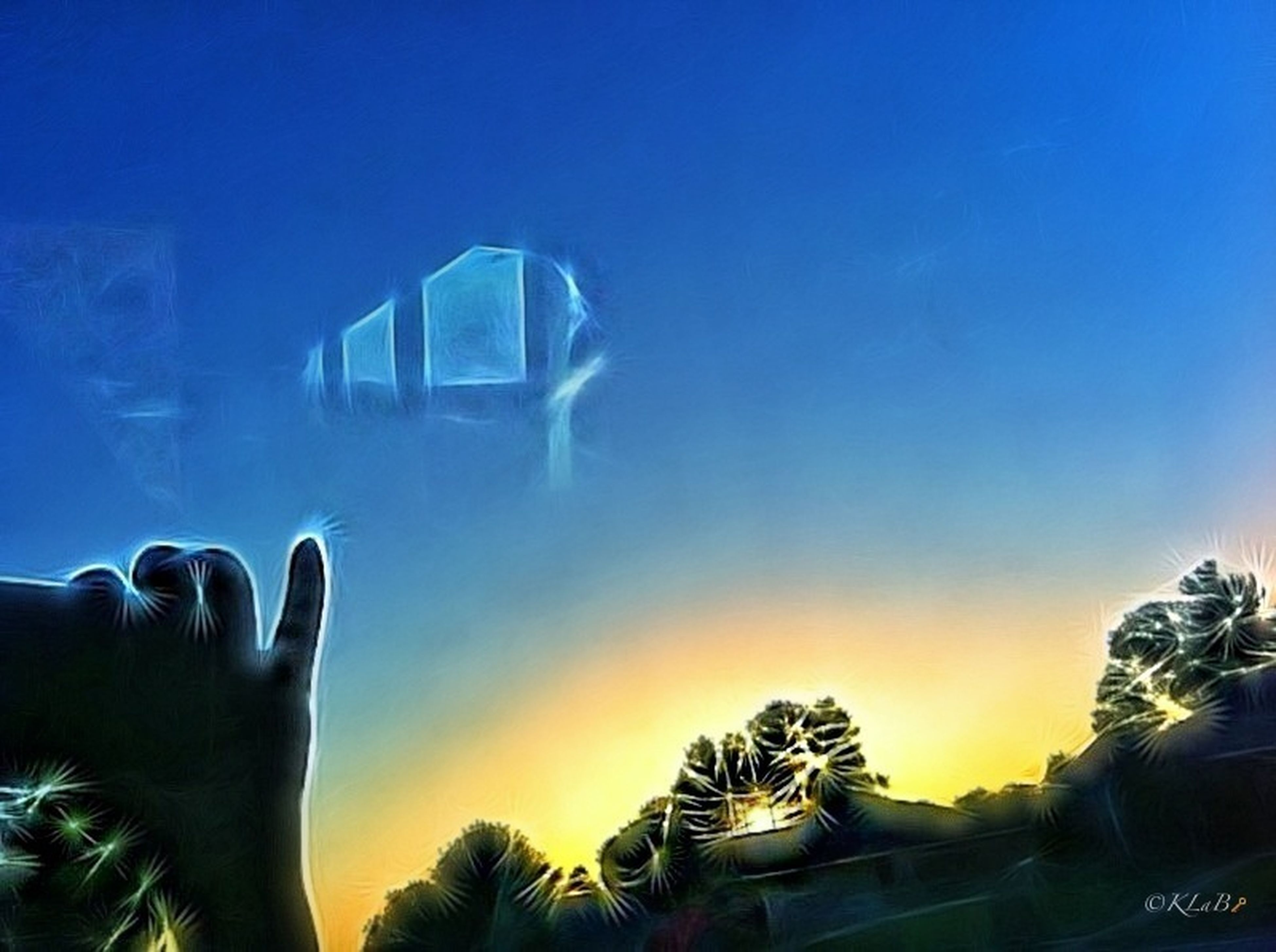 sunset, sky, blue, part of, tree, silhouette, cropped, person, copy space, unrecognizable person, clear sky, architecture, built structure, lifestyles, sunlight, nature, glass - material