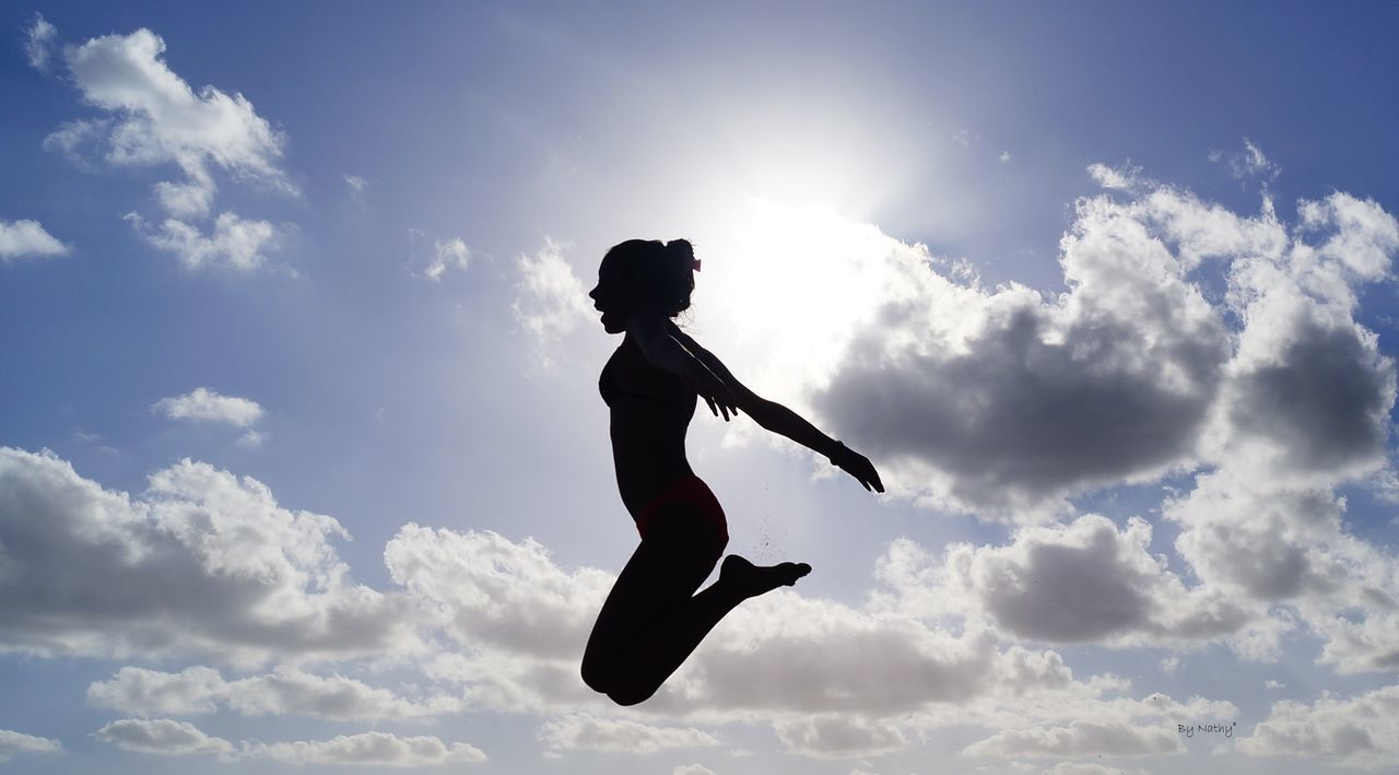 Beautiful stock photos of silhouette, Cloud, Jumping, Mid-Air, One Person