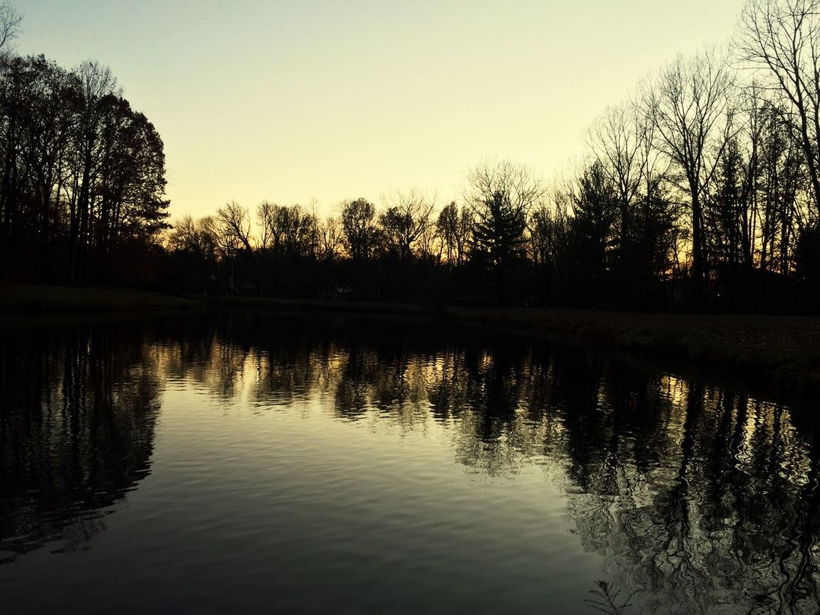 Reflection Sunset Water Silhouette Clear Sky Outdoors Tree Nature Sky No People Day