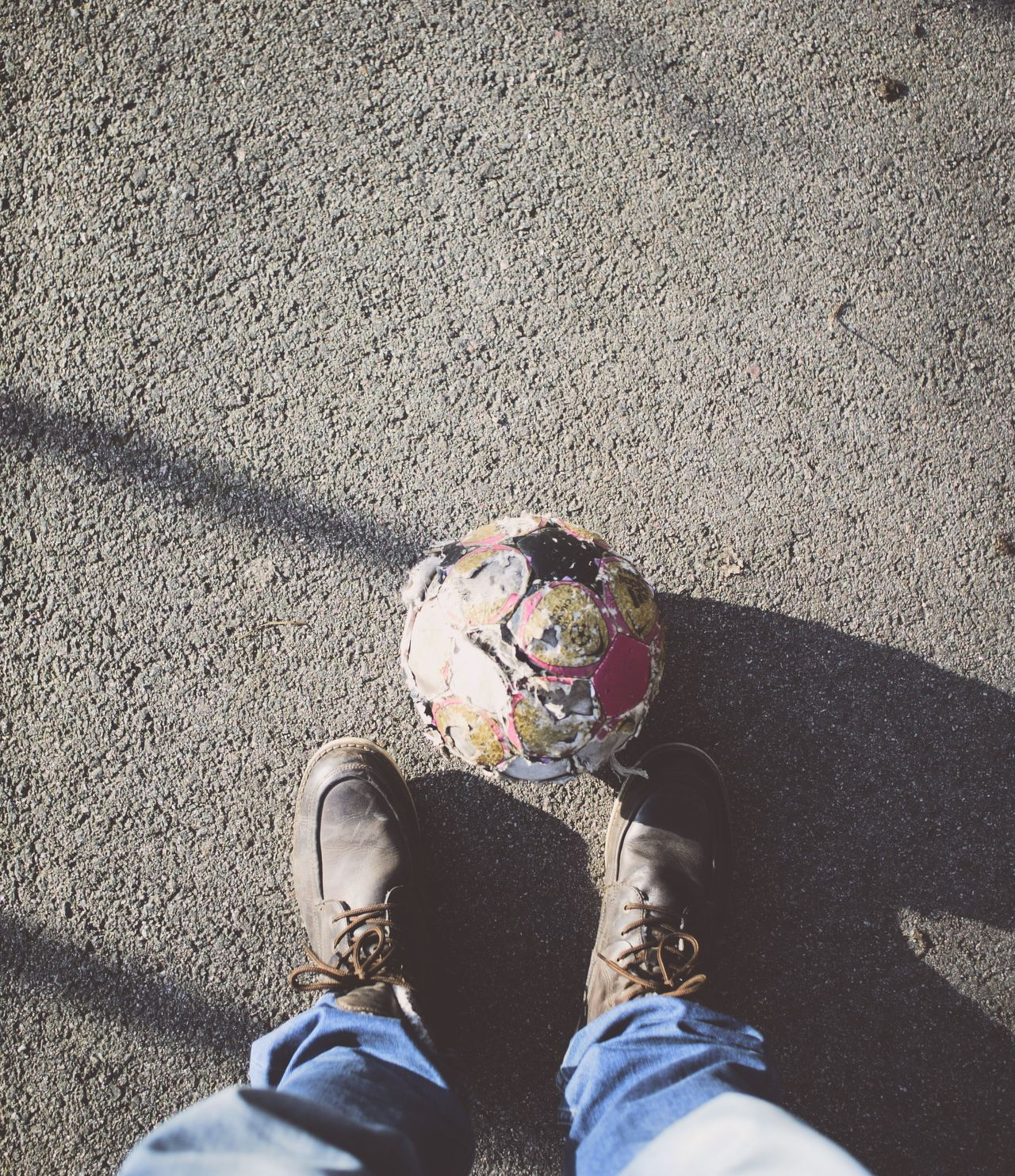 Beautiful stock photos of soccer balls, Day, Directly Above, Football, Human Leg