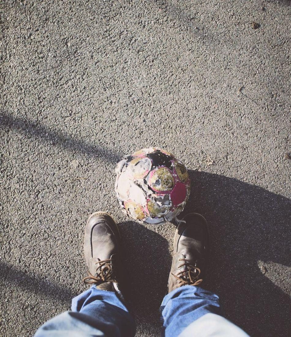 Beautiful stock photos of soccer balls, Day, Directly Above, Football, Human Leg