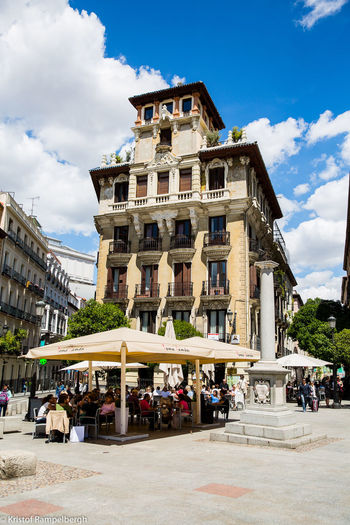 Architecture Building Exterior Built Structure City Cloud - Sky Low Angle View Madrid Outdoors People Sky Sunlight Travel Destinations