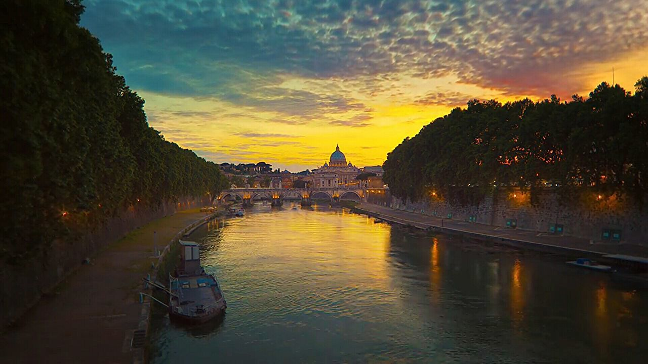 Sunset Gold Colored Sky Multi Colored Architecture Tourism History Cityscape Tevere Architecture_collection Colour Photography Rome By Night Ship Bridge Rome Tevere River Rome Italy🇮🇹 Rome, Italy Travel Destinations Reflection Travel Water