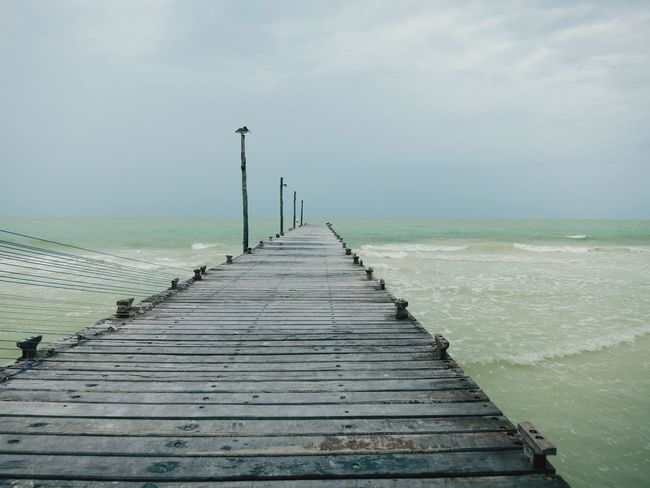 Holbox Beach Landing Stage Mexico Clouds Sea Wind Waves
