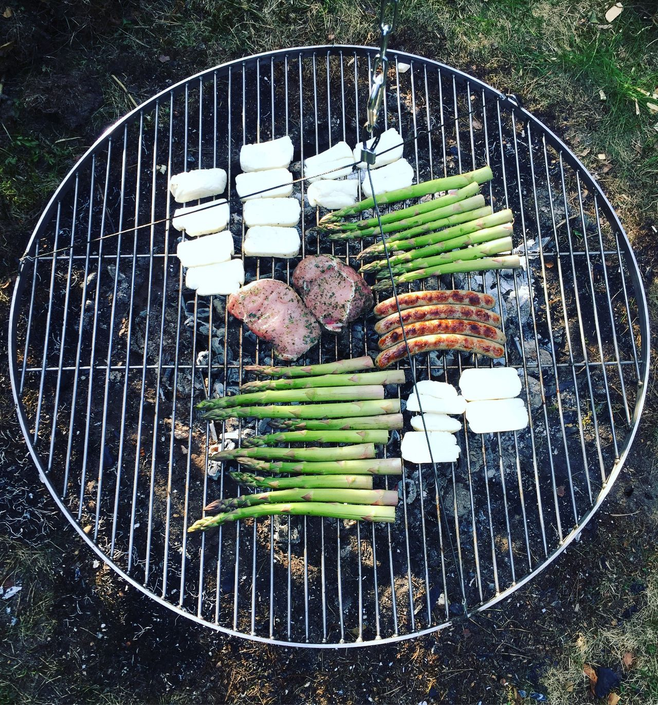 Asparagus Barbecue Barbecue Grill BBQ Coal Day Food Food And Drink Freshness Freshness Front Or Back Yard Grilled Halloumi Healthy Eating High Angle View Leisure Activity Meat No People Outdoors Preparation  Sausages Summer Vegan Vegetable Vegetarian Food