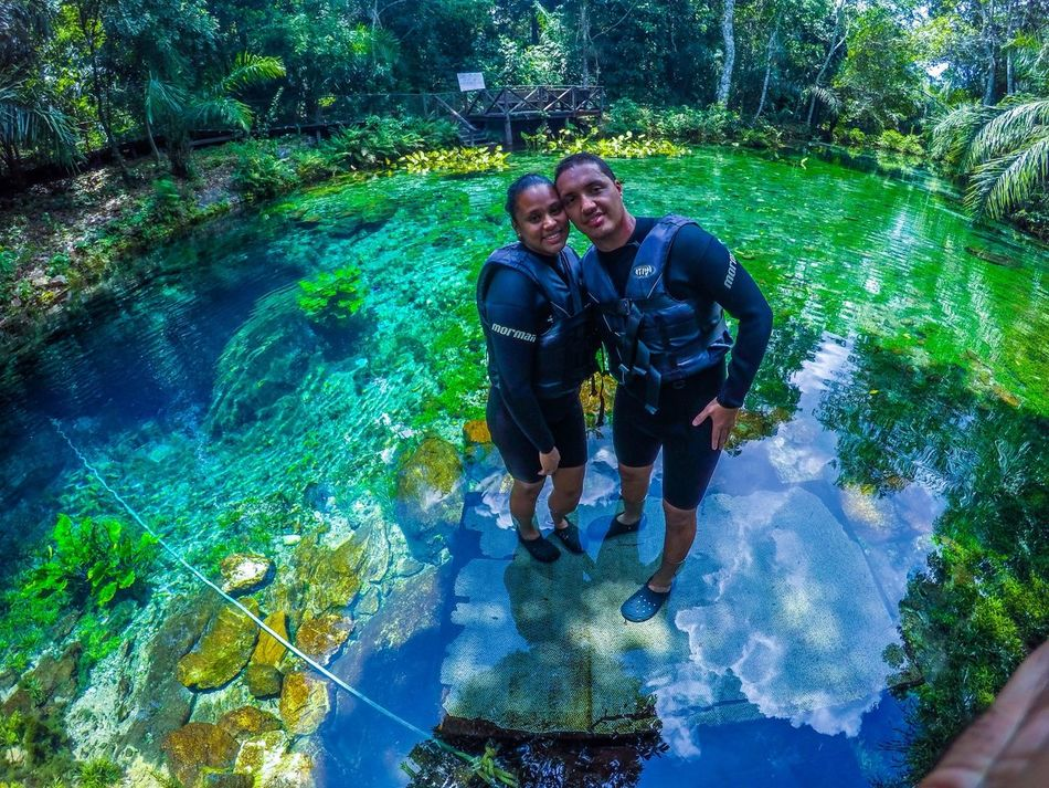 Nascente Azul, Bonito-MS,Brasil Water Two People Nature Swimming Pool Happiness Adult Outdoors