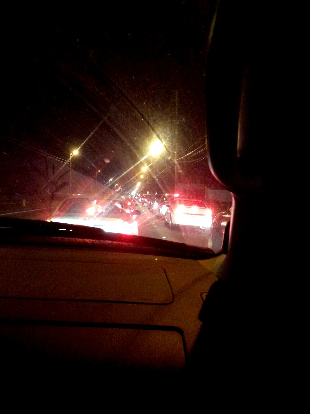Night Transportation Car Illuminated Car Interior Trafficjam Brake Lights