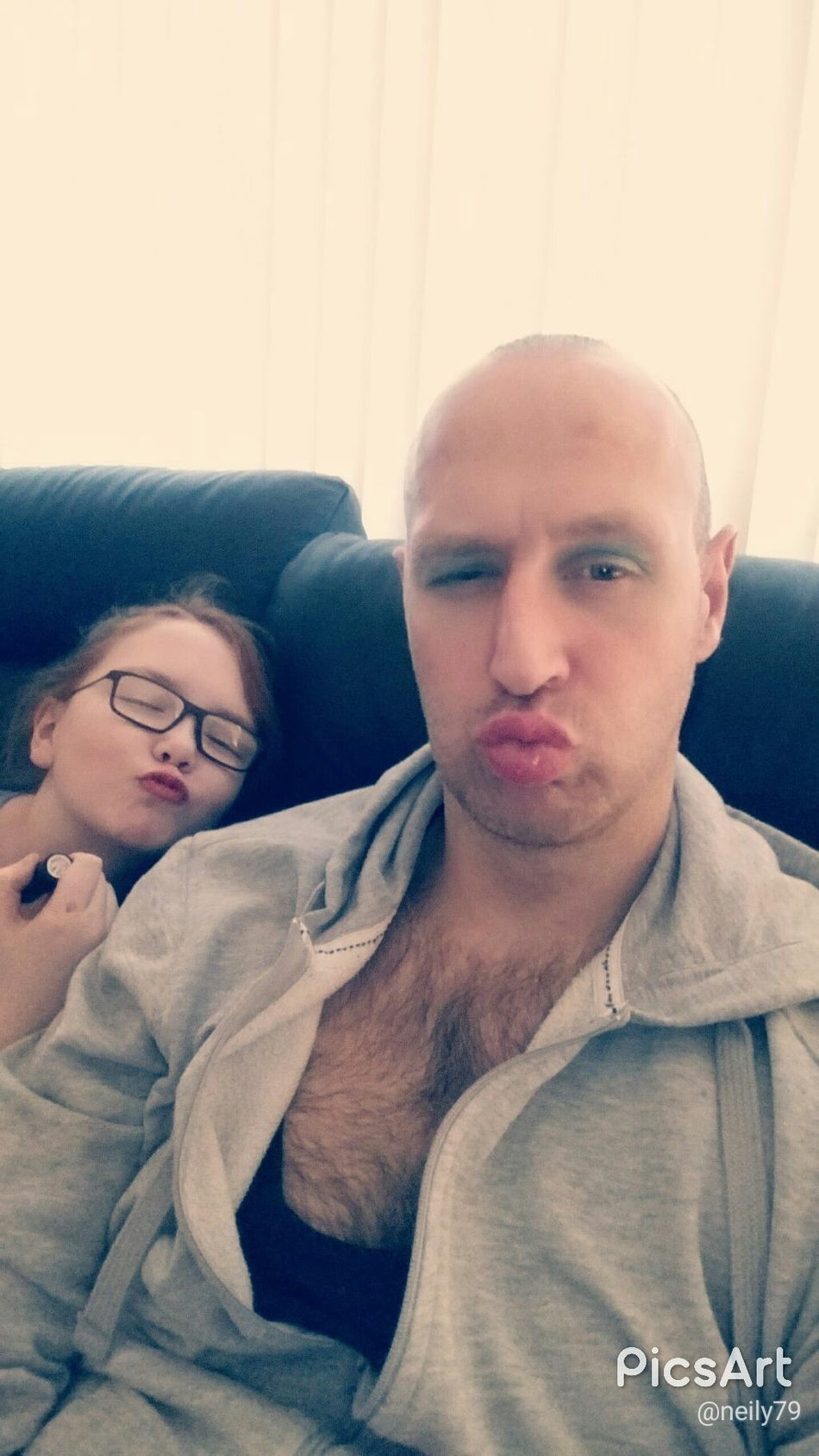 Letting my daughter practice her makeup on me 😀 Two People Adult Men Indoors  People Selfıe Reflection Life Outdoors GlassesNature Photography Hiking Selfie ✌ Daughter Father And Daughter Bald Headshot Body & Fitness Food Me Adult Landscape Real People Sky Walking