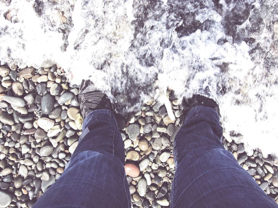Personal Perspective Low Section One Person Shoe Human Leg Human Body Part Real People Day Lifestyles Standing Outdoors Water Close-up People Adult Naturelovers Nature Photography Nature_collection Pebble Beach Pebbles