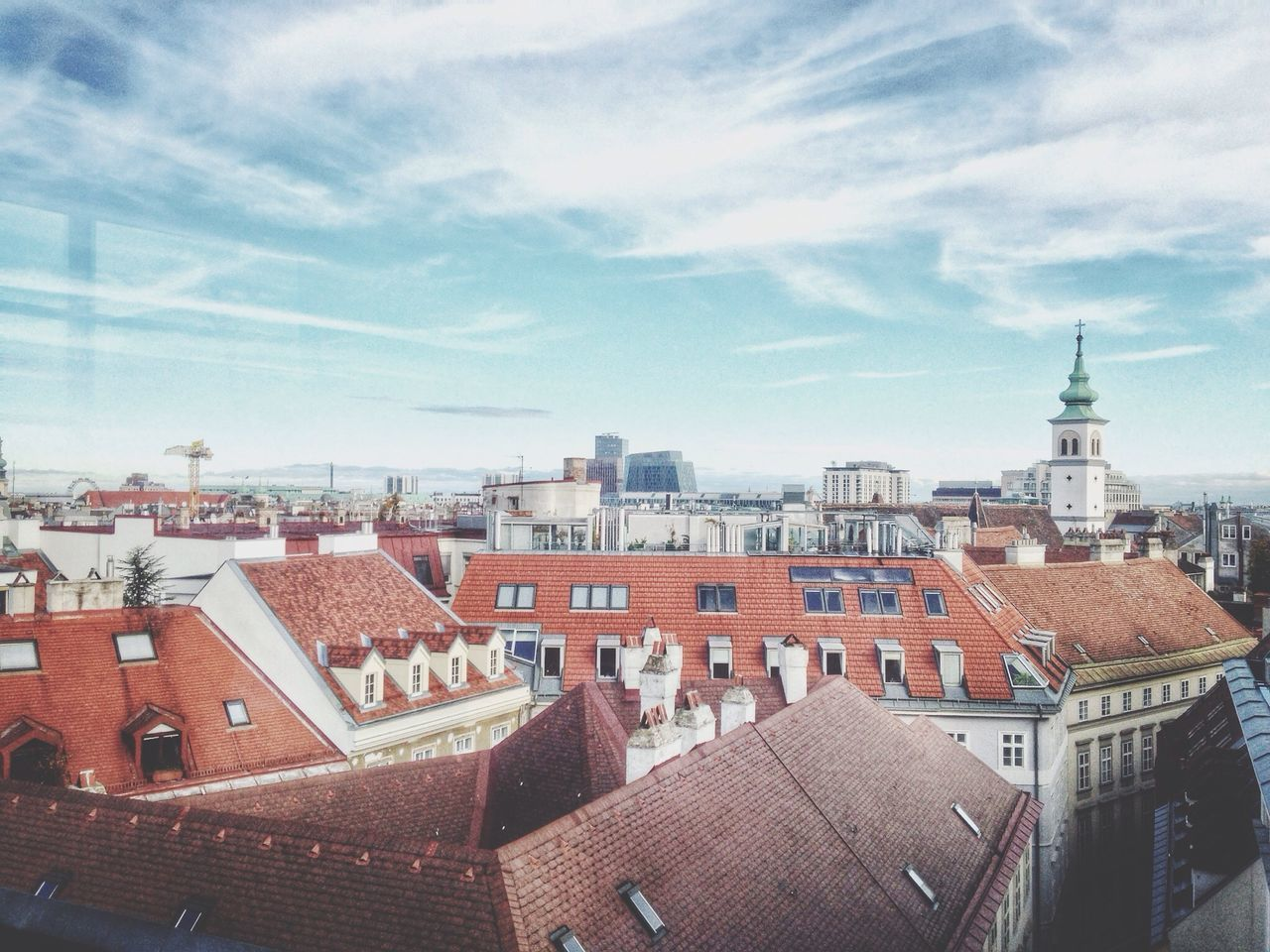 Cityscapes Rooftops Blue Sky Around The World By Lufthansa From The Rooftop
