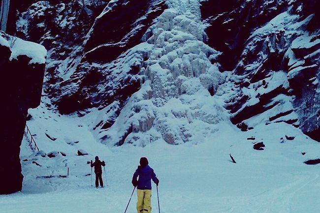 Waterfall Icy Waterfall Family Skiing Holiday Norway Nature Adventure Club