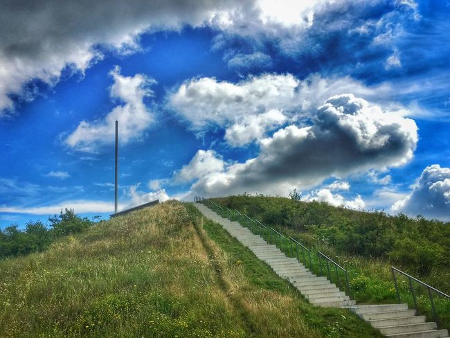 Beauty In Nature Blue Cloud Cloud - Sky Cloudy Day Diminishing Perspective Grass Grassy Green Color Growth IPhoneography Landscape Nature Nobody Non-urban Scene Outdoors Plant Road Scenics Sky Stairs The Way Forward Tranquil Scene Tranquility