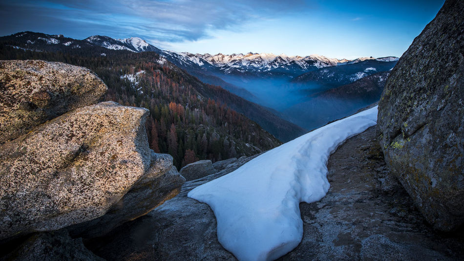 View from Moro Rock at the dusk Beauty Beauty In Nature California Cold Temperature Ice Landscape Moro Rock Mountain Mountain Peak Mountain Range Natural Parkland Nature Scenics Sequoia National Park Snow Travel Destinations Winter