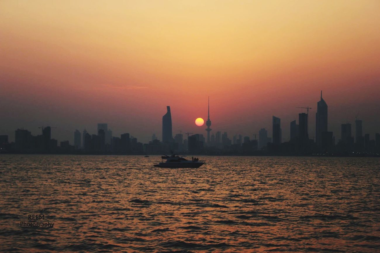 Kuwait City Golden Hour Sunset Sea