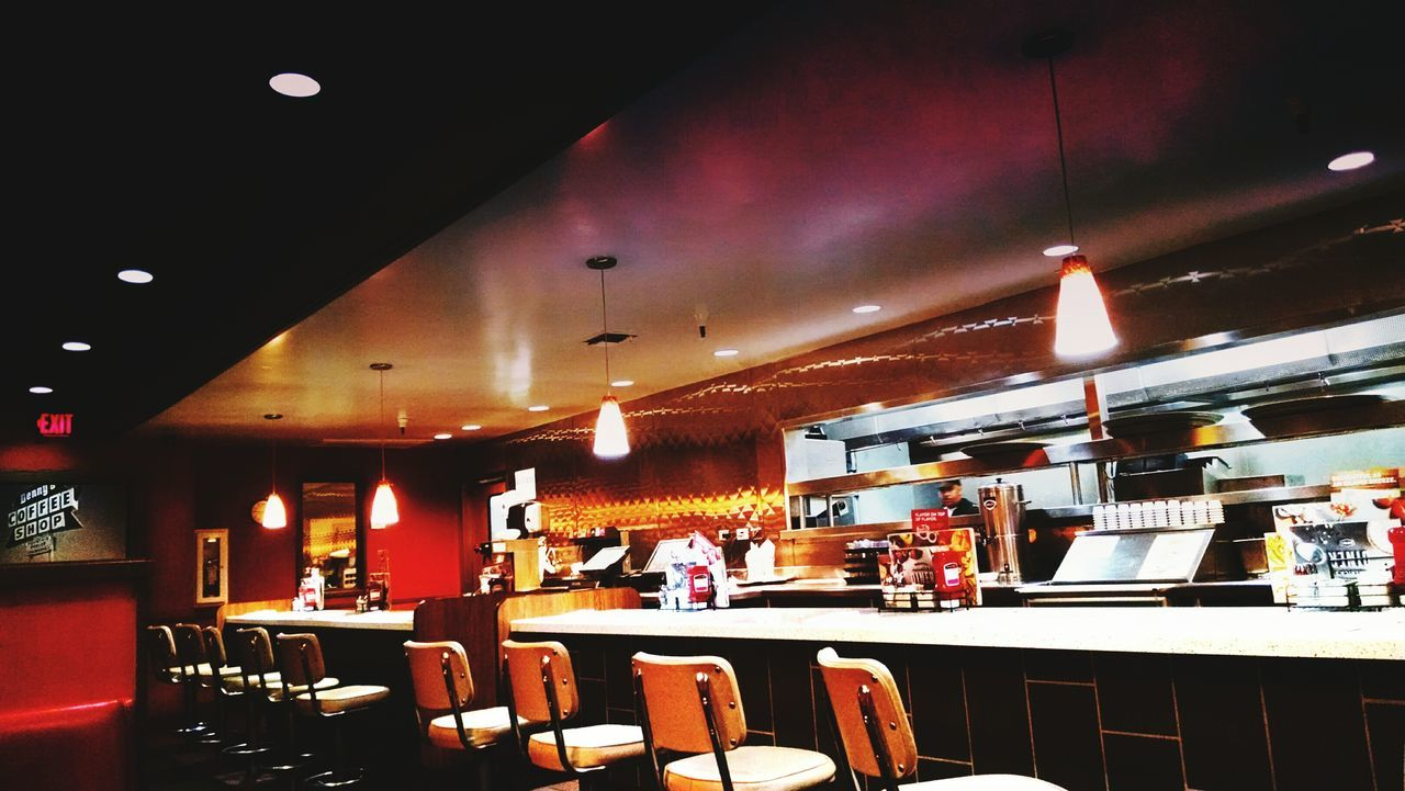restaurant, indoors, illuminated, food and drink industry, real people, architecture, day