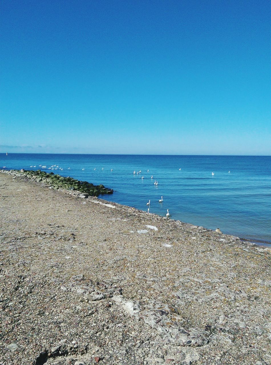 sea, water, beach, nature, horizon over water, scenics, blue, beauty in nature, copy space, tranquility, tranquil scene, clear sky, sand, day, no people, outdoors, sky