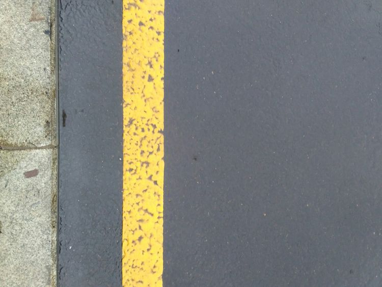 Yellow Yellow Color LINE Detail Highway Asphalt Marking Marking Of Road Road First Eyeem Photo