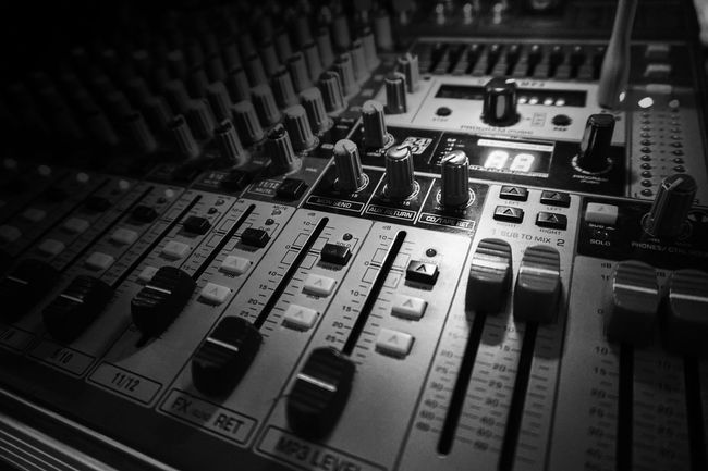 Sound music mixer and control panel Arts Culture And Entertainment Audio Electronics Broadcasting Close-up Club Dj Control Control Panel Dj Horizontal Indoors  Mixing Music Radio Station Recording Studio Sound Mixer Sound Recording Equipment Studio Technology