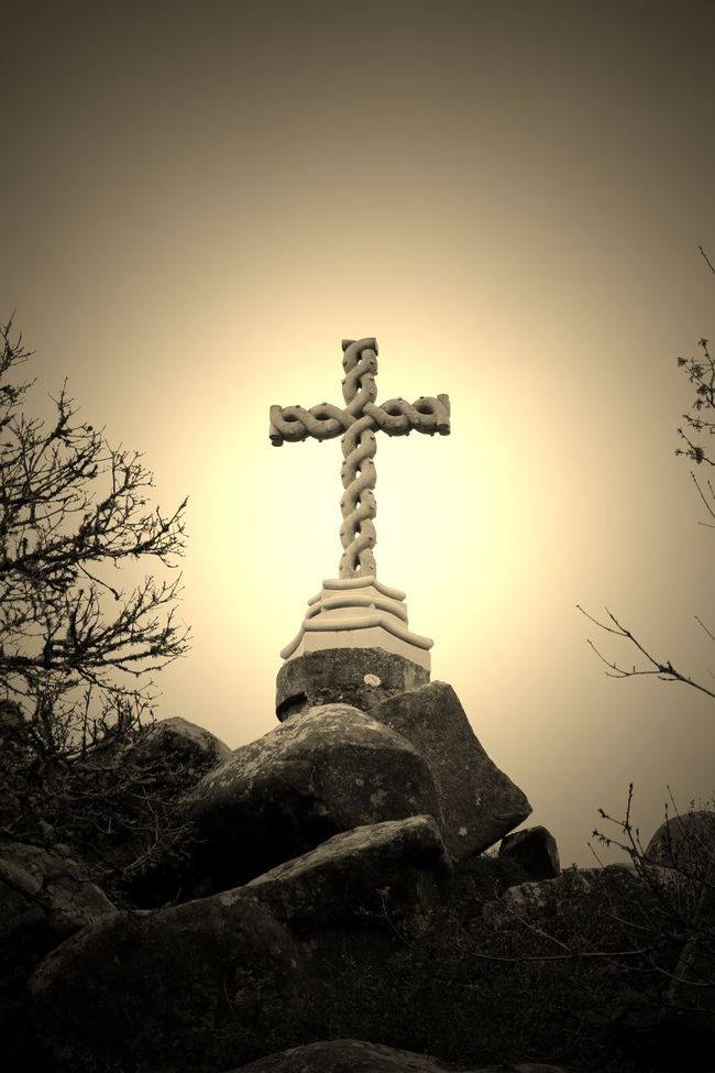Edited Stone Cross. Eye4photography  EyeEm Best Edits EyeEm Best Shots EyeEm Nature Lover EyeEmBestPics Rocks Sepia Sepia_collection Cross Sky And Clouds Greenery EyeEm Gallery Taking Photos at Sintra Portugal My Favorite Photo