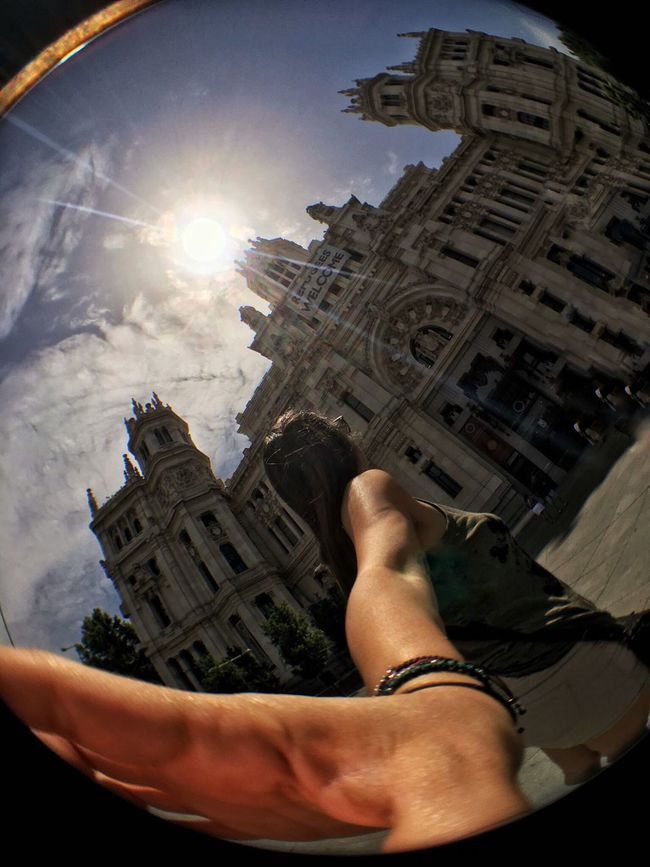 People And Places Cibeles Palacio Cibeles Building Exterior Fish-eye Lens Architecture Sunlight Sun City Madrid SPAIN Outdoors Personal Perspective Wanderlust IPhoneography Dramatic Angles