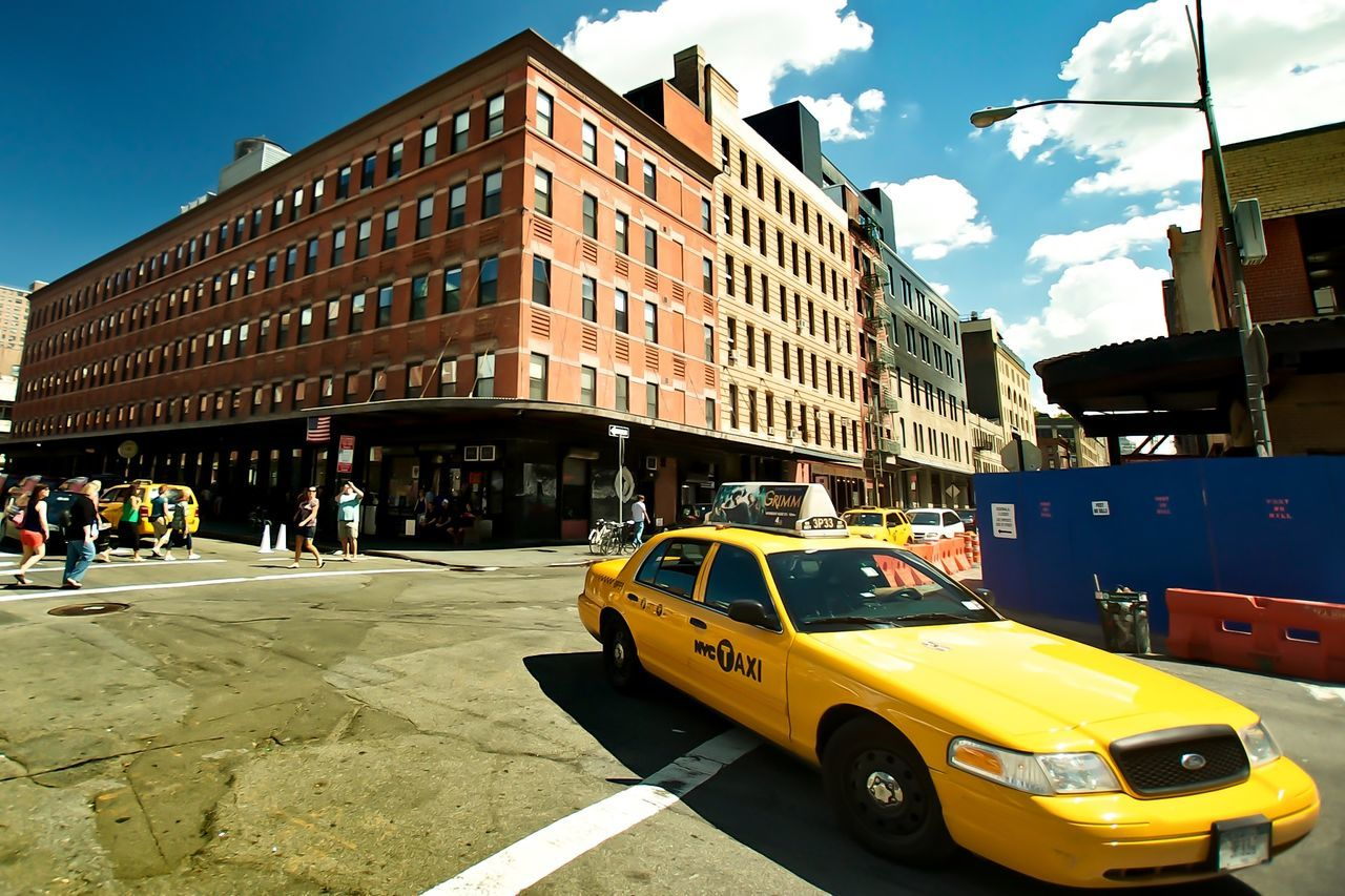 Urban Lifestyle Big Yellow Taxi Clouds And Sky I Heart New York People Wide Angle Walking Around Check This Out NY Streetlife / Meatpacking District Sunny