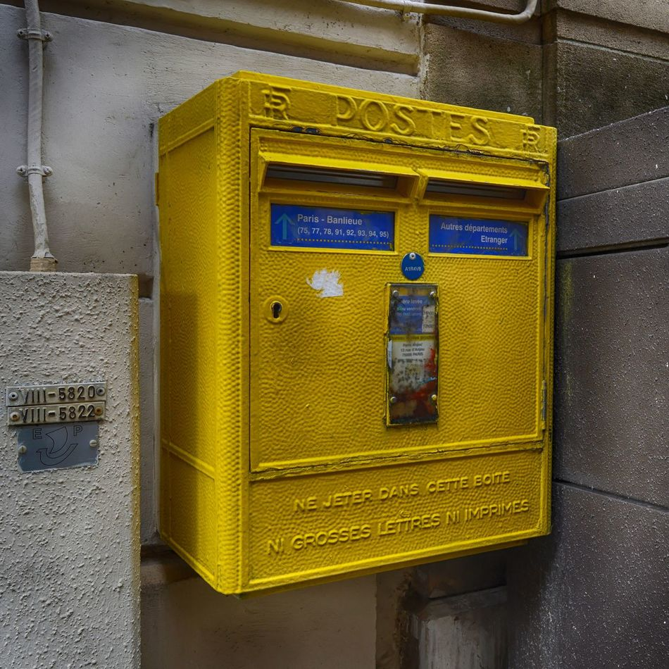 Architecture Building Exterior Built Structure Classic Close-up Communication Correspondence Day EyeEmNewHere French Mail Mailbox No People Outdoors Public Mailbox Retro Styled Text Urban Photography Vintage Yellow