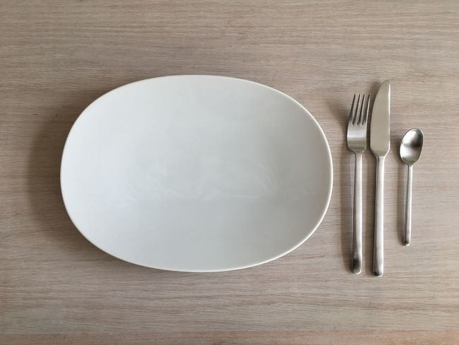 Plate Wood - Material Table Empty Plate Directly Above Fork High Angle View Place Setting No People Indoors  Close-up Day
