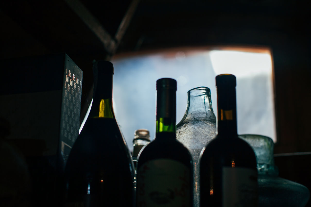 Alcohol Bottle Darkness Drink Glass - Material Lifestyles Light And Shadow Old Red Wine Wine Wine Bottle Wineglass