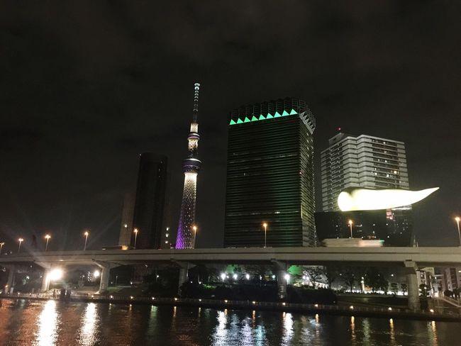 Night River City Illuminated Tower Street Photography Tokyo,Japan Nightphotography Tokyoskytree