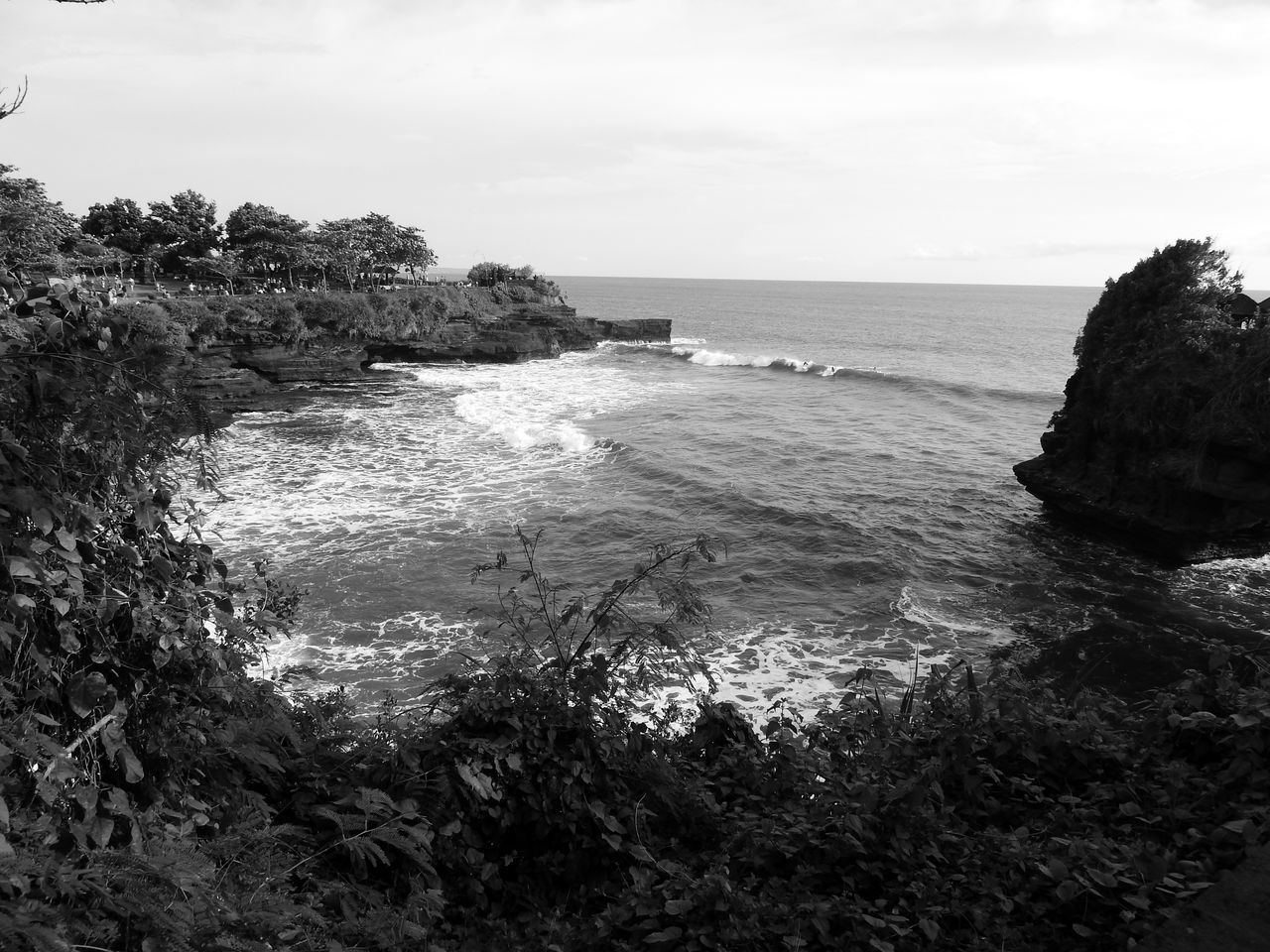 Tabanan [BW] Bali ~ Bali Bay Beach Beauty In Nature Blackandwhite Day Nature No People Ocean View Outdoors Paradise Scenics Sea Sky Solitary Surfing Tanah Lot Tranquility Water Waves Waves Rolling In Waves, Ocean, Nature