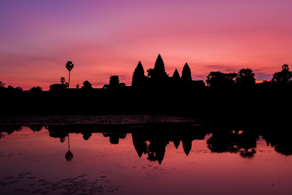 Angkor Wat Architecture Cambodia Cultures Lake Landscape Nature No People Outdoors Red Sky Reflection Silhouette Sky Sunrise Sunset Temple Travel Travel Destinations Tree Water