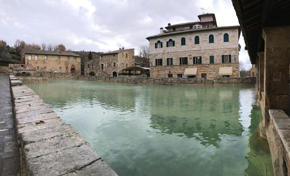 Architecture Bagnovignoni Built Structure Famous Place Reflection Terme Therme Water