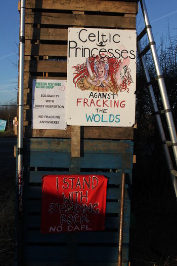 Anti Fracking Day Frack Free Frack Off Kirby Misperton Protection Camp KMPC No People Outdoors Protection Camp Ryedale Signs Text Yorkshire