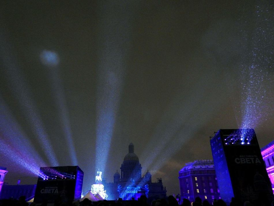 Lightshow Arts Culture And Entertainment Music Night Nightlife Illuminated 400,000 People St.isaak City Sankt-Petersburg Russia