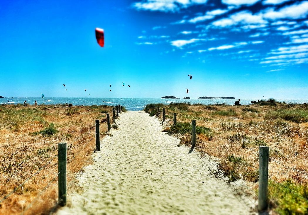 Sky Flying Landscape Outdoors Beach Rural Scene Nature Hot Air Balloon No People Day Photography Beauty In Nature Dramatic Sky Cloud - Sky Sunlight Sea Sun Sports Photography Kitesurfing Rockingham Foreshore