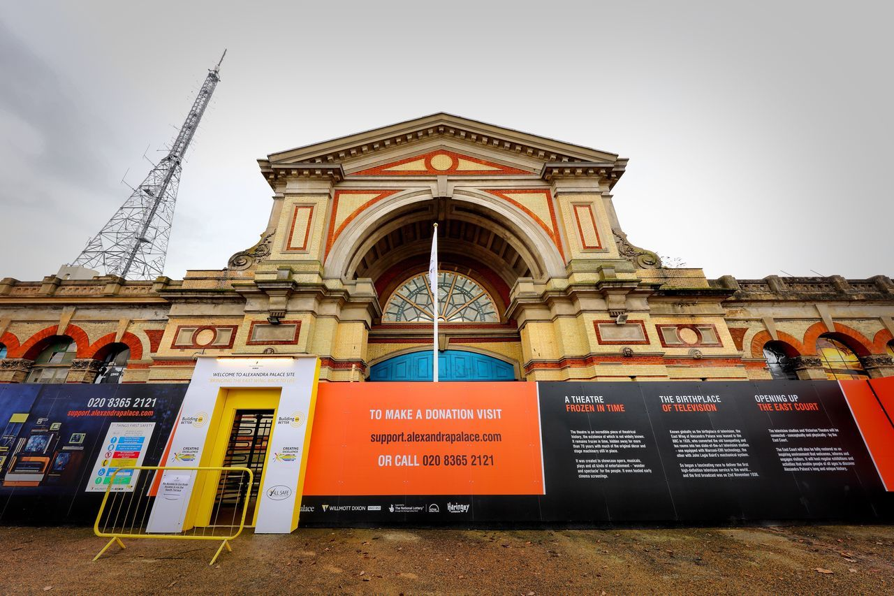 Alexandra Palace Restoration Architecture Built Structure Building Exterior Text Communication Travel Destinations Arch Sky No People City Outdoors Day