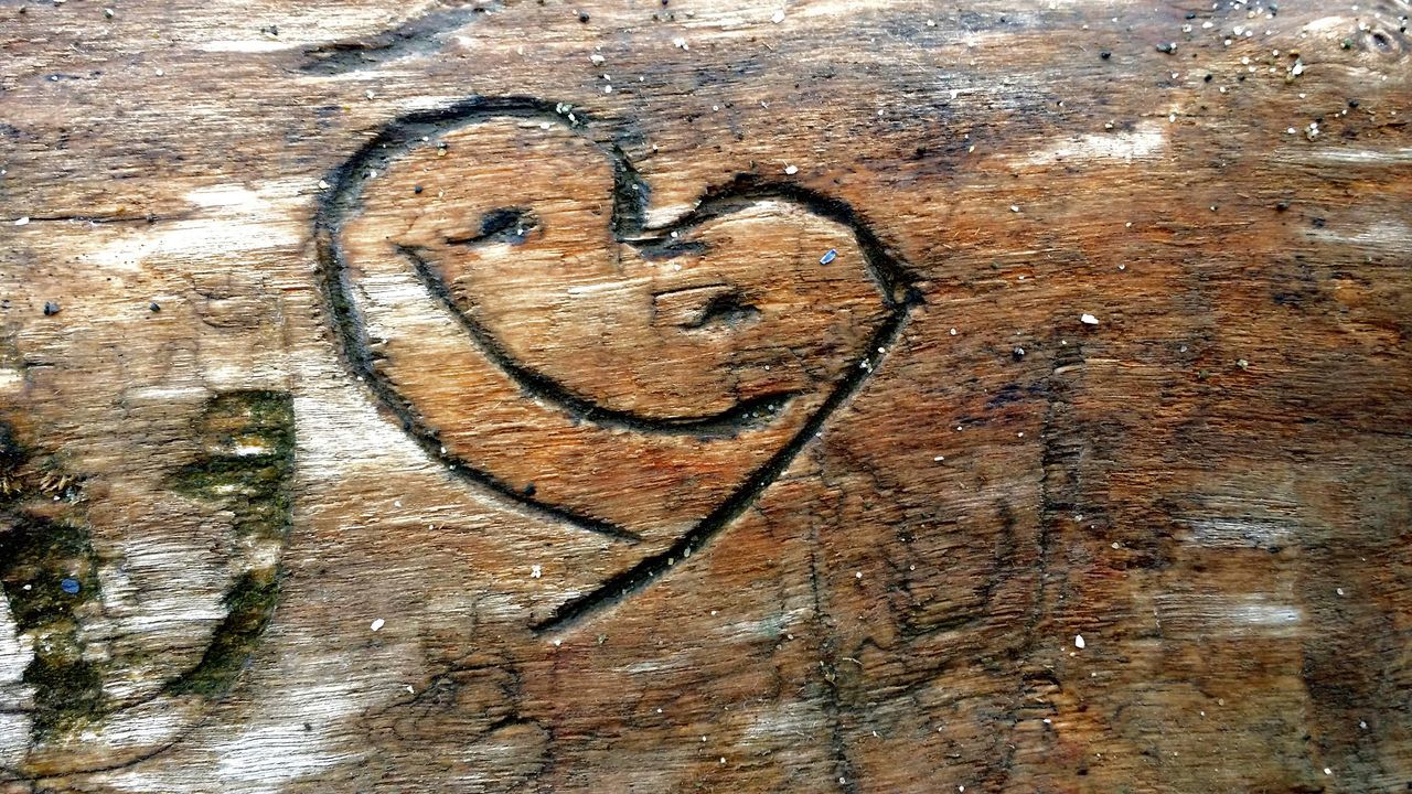 Heart Smiley On Tree Trunk