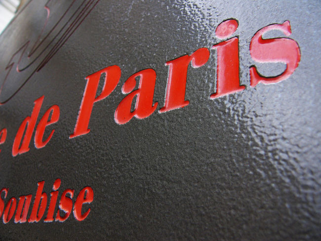 Close-up Detail Letters Paris Red Letters Sign Text Western Script