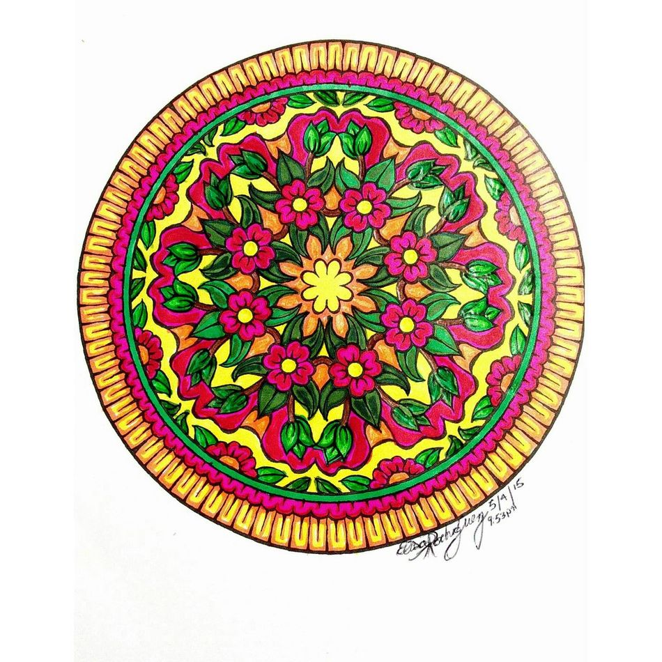 A Mandala I Colored in with Colored Pencil and some Markers  and Crayons. Colorful Hobby Lovecoloring Loveart Art Mixedart FILLIN ArtWork