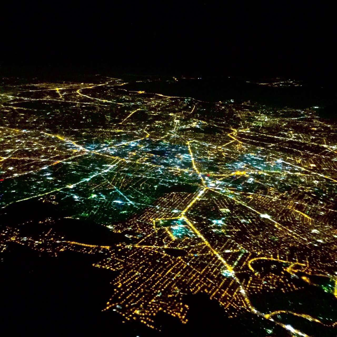 night, illuminated, no people, pattern, aerial view, cityscape, scenics, outdoors, city, black background, nature, satellite view