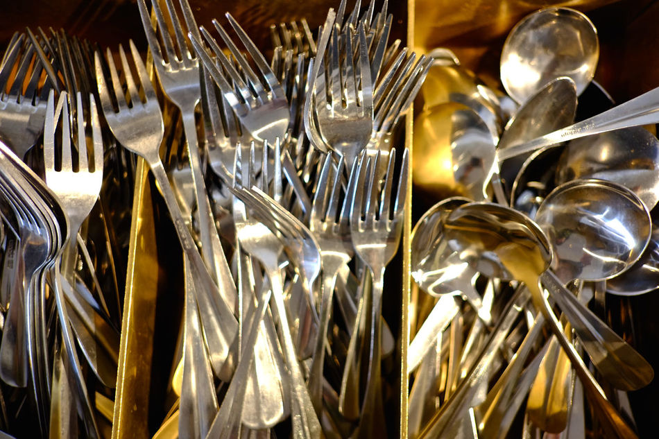 Design elements at modern-style bar/cafe/restaurant Cafe Cutlery Eating Eating Out Fork Group Of Objects Kitchen Kitchen Utensils Kitchenware Metallic Multitude Restaurant Shiny