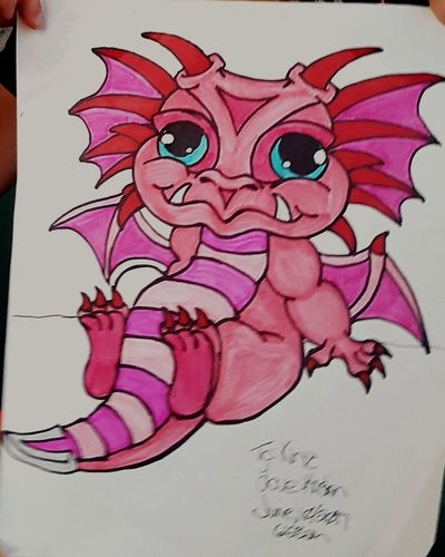 A drawing of a baby dragon I made for my step daughter. Sketch Art And Craft Doodle Paper Sketch Pad Close-up No People Dragon Baby Dragon