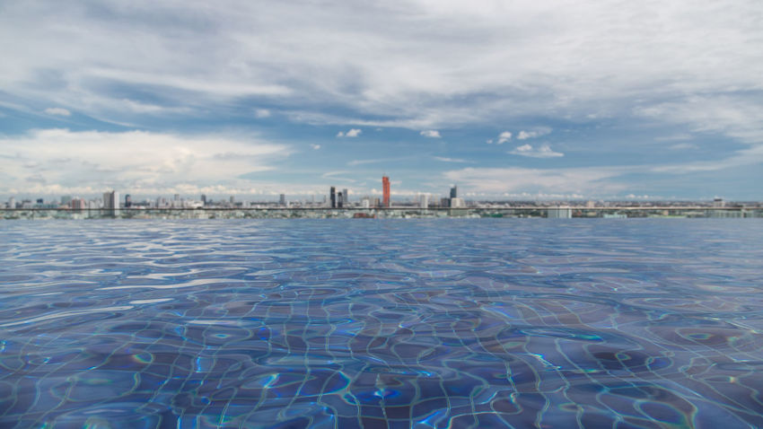 Bangkok City Blue Color Pool Time Skyline Architecture Bangkok Sky Bangkok Skyline Beauty In Nature Building Exterior Built Structure City Cityscape Cloud - Sky Clouds And Sky Day First Eyeem Photo Industry Nature No People Outdoors Pool Sky Swimming Pool Water Waterfront