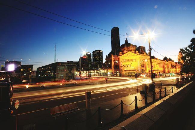 Nightphotography @ Flinders St #Melbourne Havingfun Melbourne City City Lights Enjoying Life Sunset LovingLife Check This Out Chilling